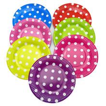 100 шт./лот бумажные тарелки посуда 7 дюймов и 9 дюймов Birhtday свадебные ну вечеринку поставки красочных одноразовые бумажные тарелки