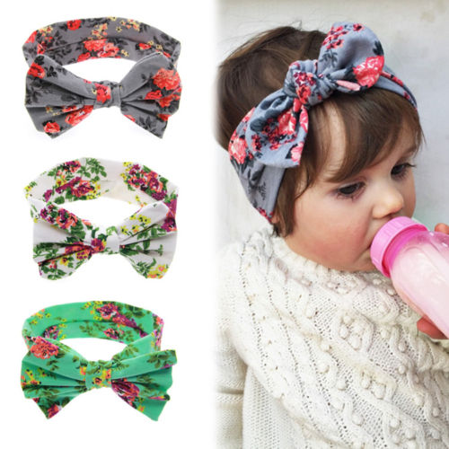 1 New Baby Girls Toddler Infant Newborn Flowers Print Floral Butterfly Bow Hairband Turban Knot Headband Hair Band Accessories(China (Mainland))