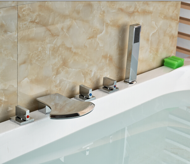Фотография Elegant Chorme Faucet Bathroom 5PCS Faucet Deck Mounted Shape Hot&Cold Water Tap