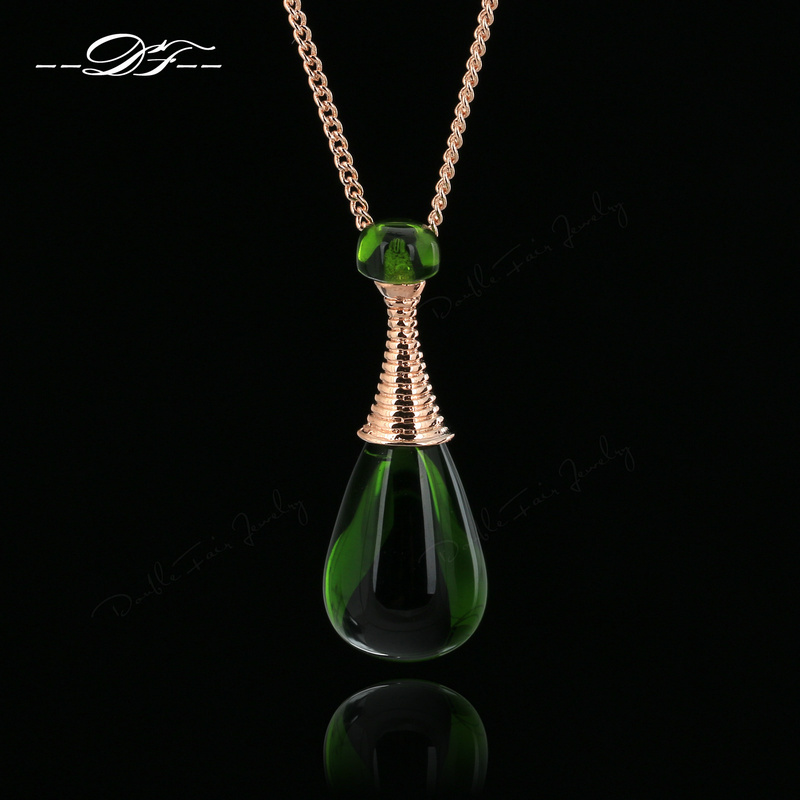 2015 New Green Rhinestone 'Perfume Bottles' Vintage Necklaces & Pendants Imitation Gemstone Jewelry For Women colares DFN225(China (Mainland))