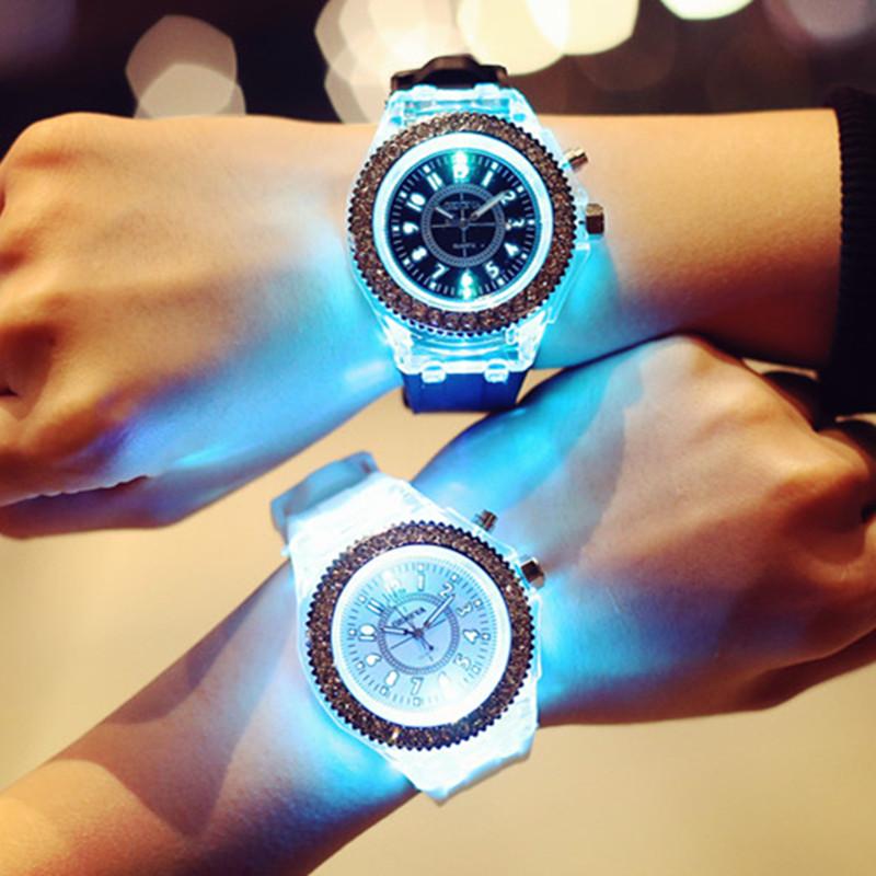 Brief watch personality waterproof luminous jelly diamond table trend lovers quartz watch(China (Mainland))