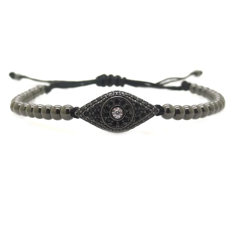 Fashion Black Gun Men Bracelet,Pave Setting Black CZ Evil Eye Connector Beads & 4mm Round Bead Braided Men Macrame Bracelet(China (Mainland))
