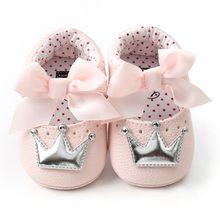 תינוקת עור מפוצל נעלי ילד מוקסינים ראשון הליכונים כתר קשת רך סוליות נעלי החלקה נעלי עריסה(China)