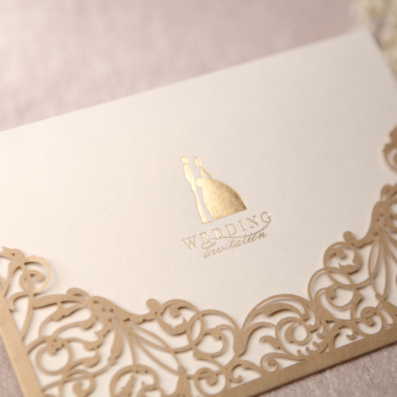 Gorgeous Lace Cut-out Free Personalized & Customized Printing Wedding Invitations Cards Custom In Gold 50pcs/lot Free Shipping(China (Mainland))