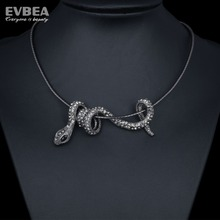 Fashion Jewelry Snake Chain 925 Silver Snake Pendant Necklace Collar Crystal Ophidian Choker Necklaces Sexy For