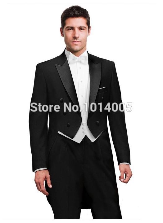 Tailcoat black groom tuxedos best man lapel groomsmen men wedding