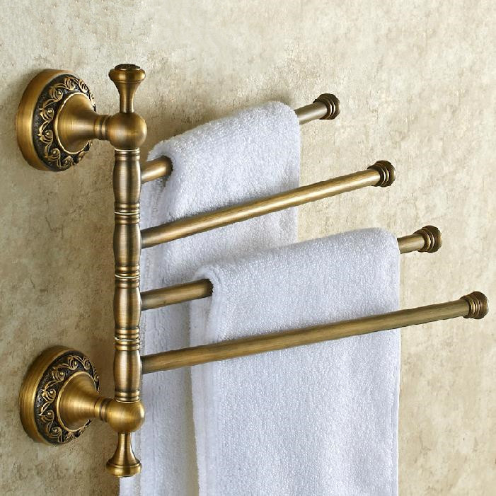 Solid Brass Vintage Style Bathroom Revolve Towel Bar Antique Brass Four Tiers Bath Towel Holder Rack Wall Mounted F91373(China (Mainland))