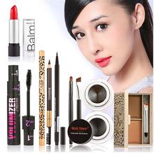 6Pcs Makeup Set Eyeshadow Eyebrow Pencil Foundation Blusher Powder Eyelash Mascara Liquid Eyeliner Lip Gloss Kit maquiagem#82048(China (Mainland))