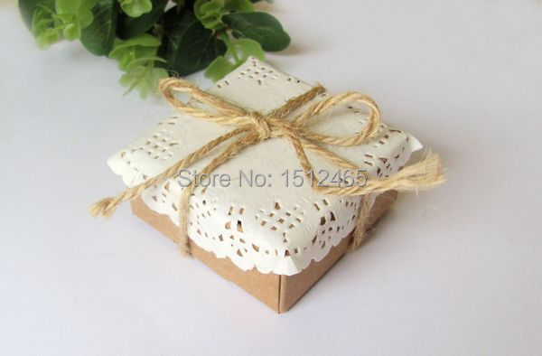 50pcs/lot Brown Square Kraft Paper Boxes With Paper Lace Doilies and String Party supplys 5.5*5.5*2.5cm KF07-50(China (Mainland))