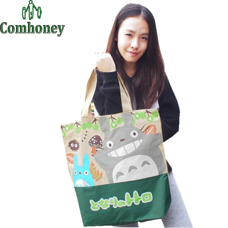 Totoro Bag for Girls Women Handbag Cartoon Japanese Anime Shoulder Bag Ladies Cross Body Bags Canvas Girls Travel Bag School(China (Mainland))