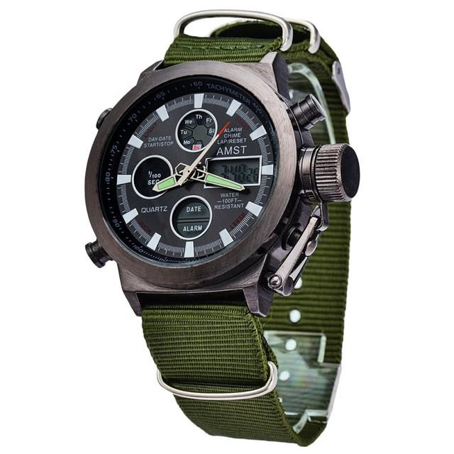 Hot Men Watches Luxury Brand Men's Quartz Hour Analog Digital LED Sports Watch Men Army Military Wrist Watch Relogio Masculino
