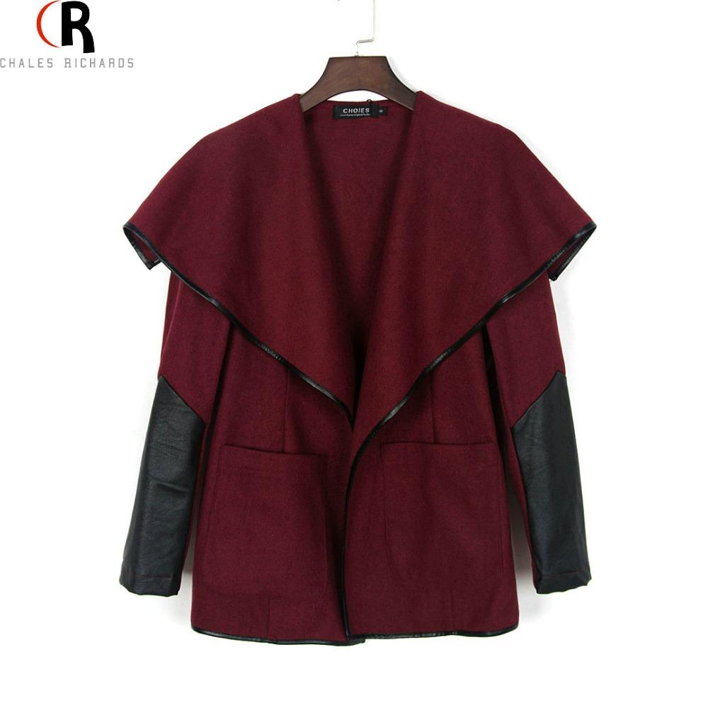 Wine Wine Red Wide Lapel PU Patchinig Long Sleeve Tweed Woolen Coat Open Front 2016 Spring Winter Women New Designer Outwear(China (Mainland))