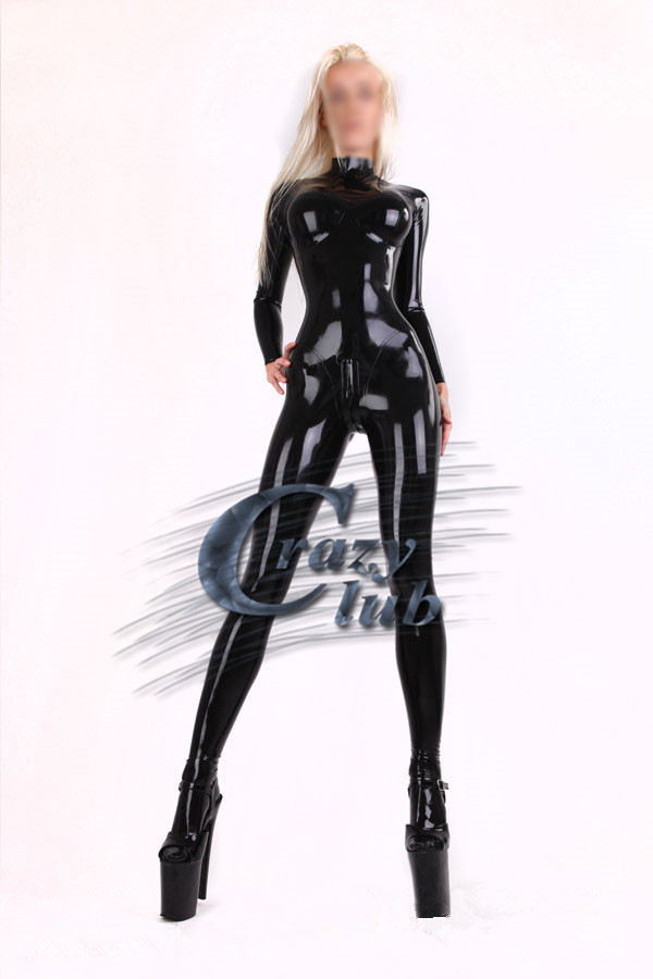 Crazy club_Sexy Women Casual Latex clothe Autumn Winter Sexy Slim Latex Catsuit With Socks Black Rubber Bodysuit Sale on line