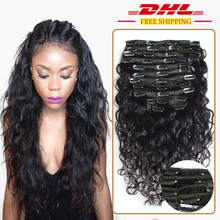 7A Grade 100% Virgin Water Wave Clip In Human Hair Extensions Brazilian Virgin Human Hair Clip In Extensions 2Sets for Full Head(China (Mainland))