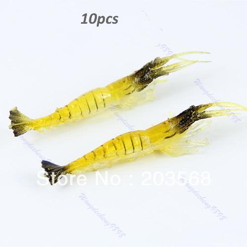 10pcs 90mm 4g Soft Simulation Prawn Shrimp Shaped Bait Fishing Saltwater Lures For Beauty Tool