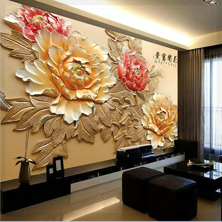 Mural tv background wall wallpaper chinese style 3d three for Chinese mural wallpaper