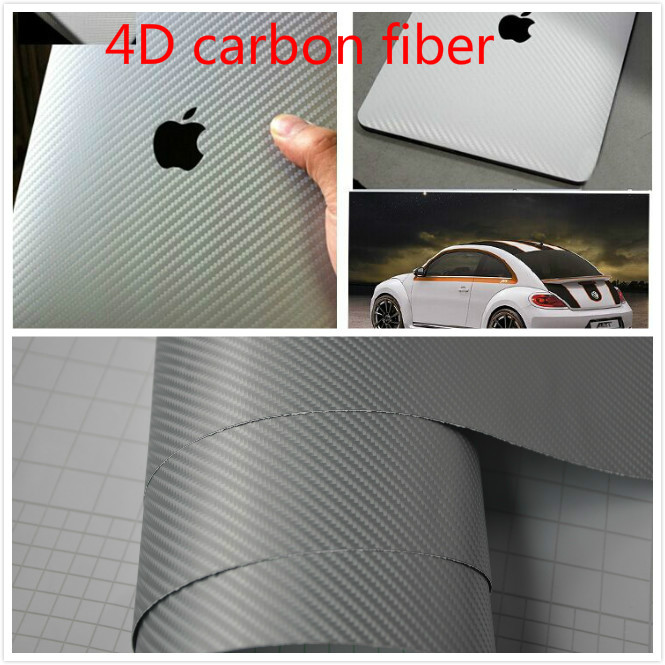 4Mx1.52M 4D Carbon Fiber Vinyl Wrap Silver Air Release Easy Cleaning Sticker Decal Waterproof Film Make Your Car Fantasitic!!(China (Mainland))