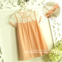 [Aamina] Free shipping,hollow Chiffon baby girls dresses, summer girls clothes, baby boutique clothing
