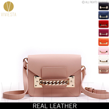 GENUINE LEATHER CHAIN MINI ENVELOPE BAG - Women's 2015 New Brand Fashion Cute Small Shoulder Clutch Crossbody Bag Purse Handbag(China (Mainland))