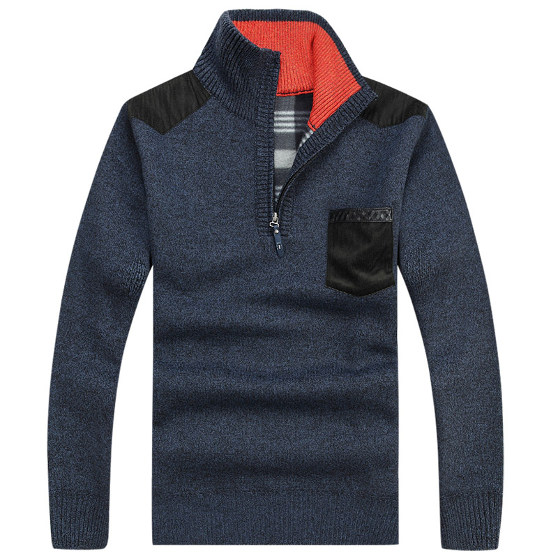 2014 New Thicken Warm Winter Coat zipper Mens Pullover Sweaters Cashmere Man knitted Wool Oversize Casual Velvet Clothing(China (Mainland))
