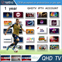 10pcs 1Year Arabic French IPTV Qhdtv account Canal Sky DE UK sports 940+ Live Channels Arabic French Africa 3RCA Cable Free Ship