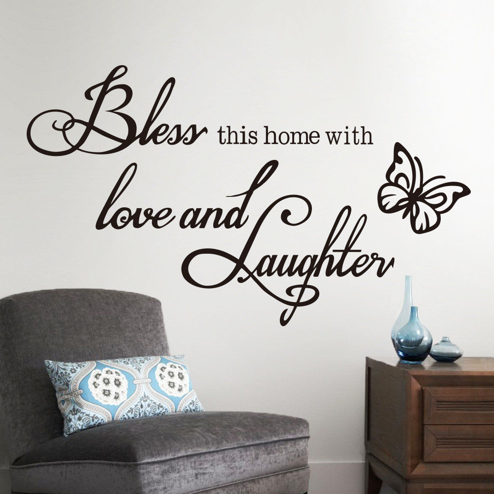 English Quote Bless This Home With Love And Laughter Wall