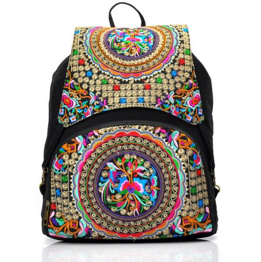 2014 New Fashion Women Backpack canvas school bags travel Bag Vintage embroidery bag Shoulder BagS Backpack wholesale embroidery