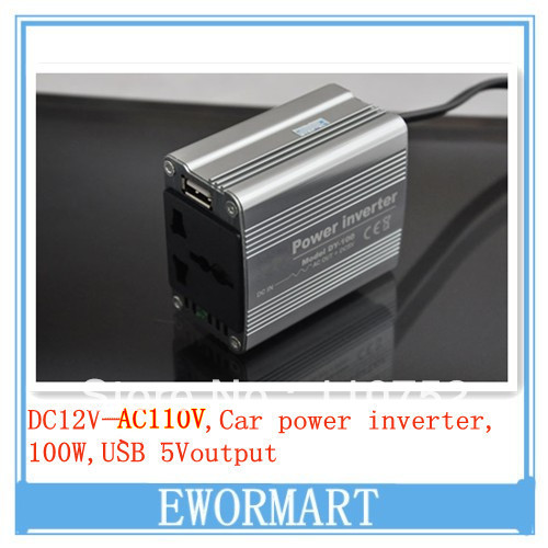 New Sliver 100W Car Power Inverter 12V DC to 110V AC USB Port Slim for mobile laptop adapter inverter with free shipping(China (Mainland))