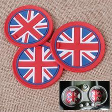 Brand New 3Pcs Red Union Jack Anti-Slip Cup Mat For Mini Cooper R55 R56 R57 R58 R59 Shockproof Silicone Mats Non-Slip Pads Mini(China (Mainland))