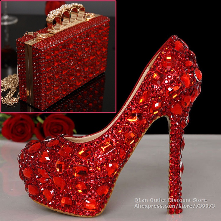 Red Wedding Shoes And Matching Bags Rhinestone Bridal High Heels Bags Set Handbags Clutch Bag