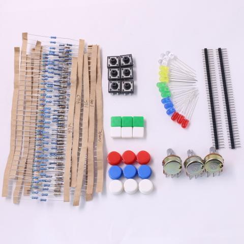 1 Set Handy Portable Resistor Kit for Arduino Starter Kit UNO R3 LED Potentiometer Tact Switch Pin Header Free Shipping(China (Mainland))