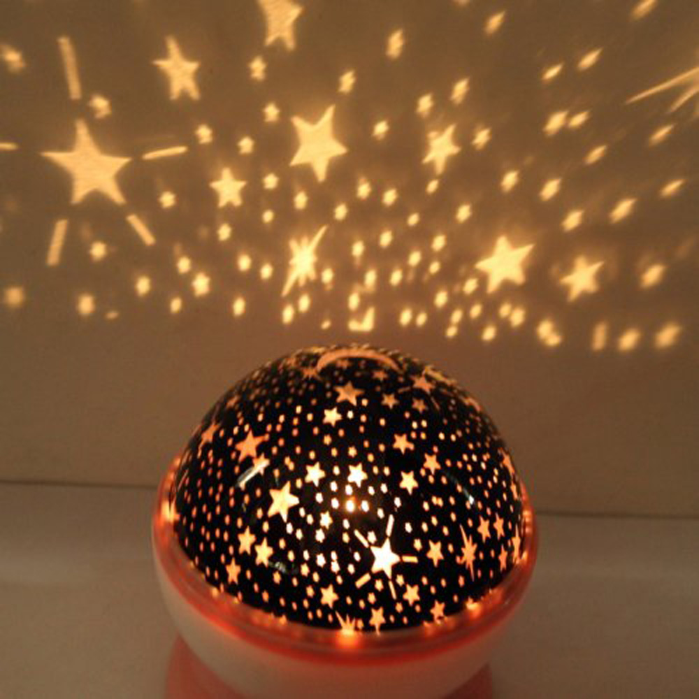 New Pink Rotation Starry Star Moon Sky Romantic Night Projector Light Lamp US Fast Shipping(China (Mainland))