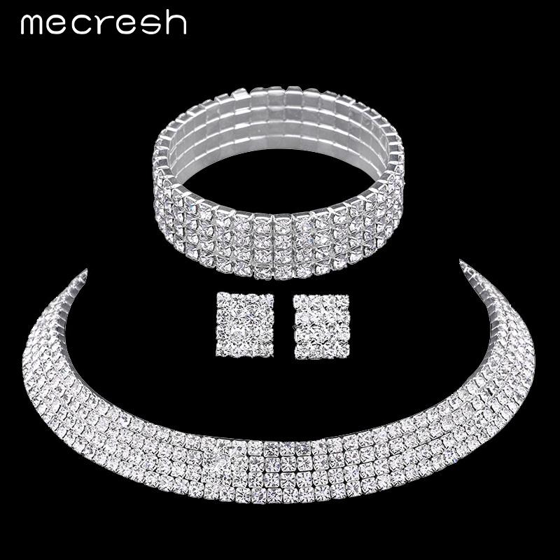Mecresh Crystal Bridal Jewelry Sets Silver Plated Rhinestone Bracelets Earrings Necklace Women Wedding Jewelry Sets TL299+SL116