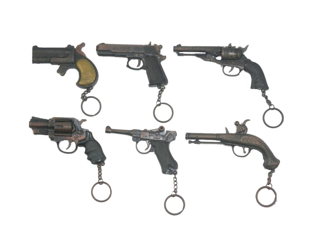 6pcs/set Classical Imitation Metal Gun Guns Handgun Weapon Pistol Toy Model Keychain Keychains Ornaments Boy Birthday Tou Gift - ShenZhen HaoDao Technology Co.,Ltd store
