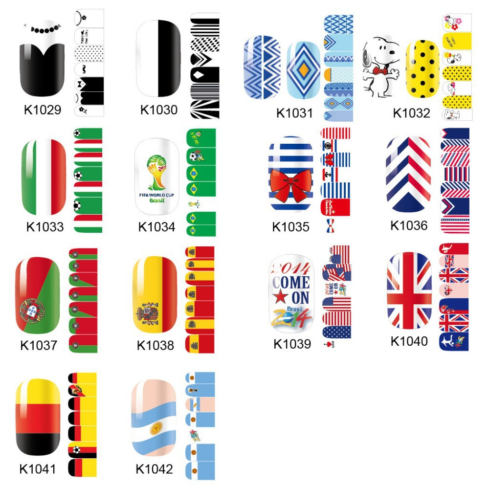 1Pack(14pcs) World Cup Adhesive Nail Stickers Wrap,Cartoon Flag Nail Art Decals Supplies(China (Mainland))