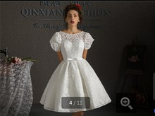 2015 best selling short white lace puff sleeve beads wedding dresses knee length lace up open back bridal gowns(China (Mainland))
