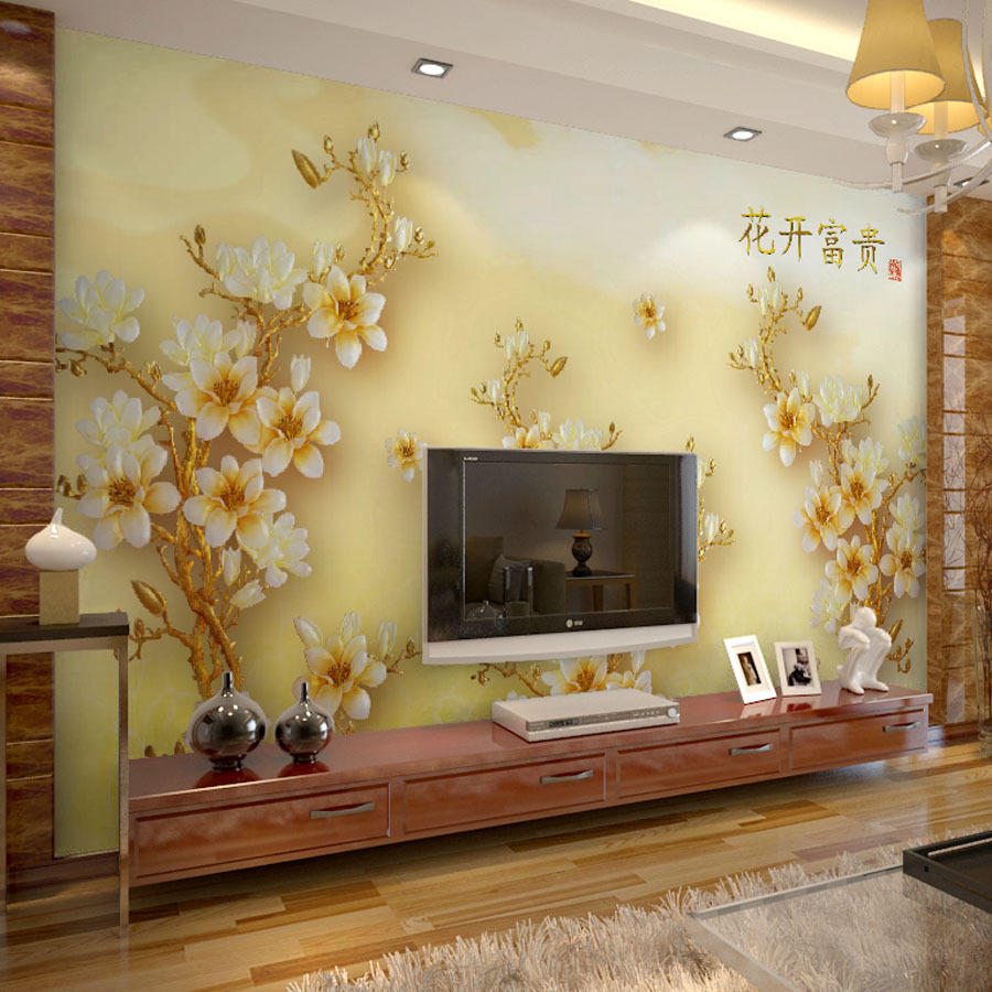 free shipping large mural 3d stereo tv bedroom sofa background color