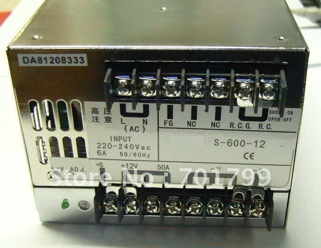 12V/24V/48V/600W switch mode power supply,size;170*120*93mm,led driver,led power supply;bigger one