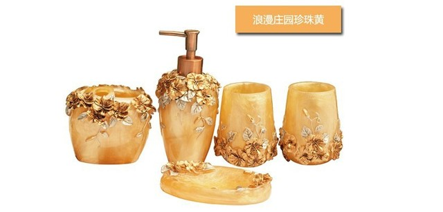 free shipping resin bathroom set five piece bathroom accessories wedding gift hotel supplies innovative items
