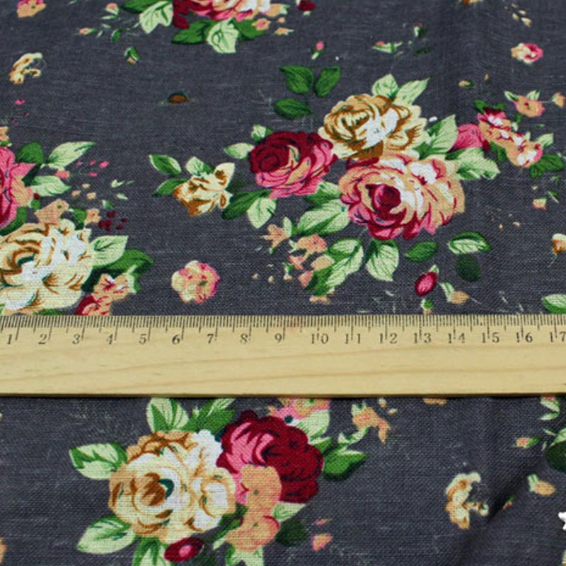 1 Meter DIY Zakka grocery cotton and linen printed linen grey floral rose series tablecloth patchwork quilting fabric for sewing(China (Mainland))