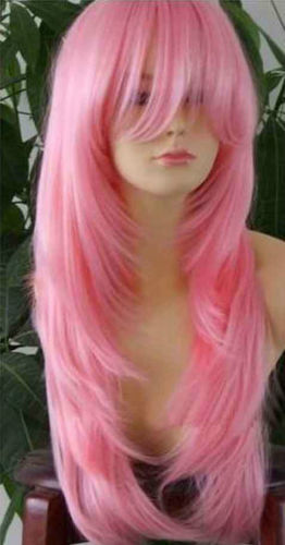 W holesale price Hot Sell TSC^^^ NEW57 new style fashion long pink health hair Wig wigs(China (Mainland))