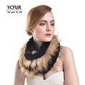 YCFUR 2016 Winter Ring Scarves Women New Arrival Genuine Rex Rabbit Fur Wraps With Raccoon Dog
