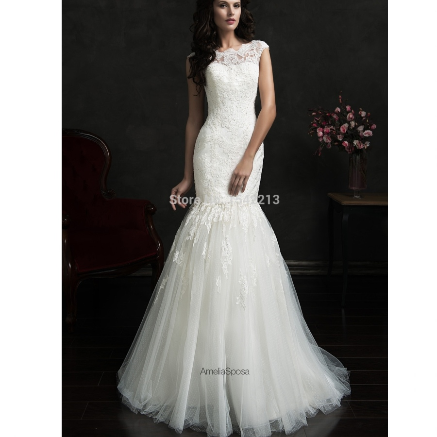 hot sale two in one lace detachable wedding dresses