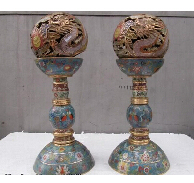 Copper Brass CHINESE crafts decor ation Asian Pure Bronze cloisonne Royal Palace Dragon palace lantern candlestick Pair(China (Mainland))