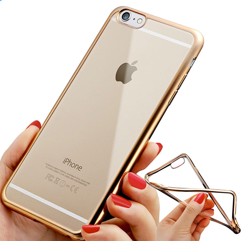 Rose Gold Plating Transparent Clear Crystal Case For iPhone6 6s Plus Soft Rubber Cover Luxury TPU Silicone Apple iPhone 6S Cases(China (Mainland))