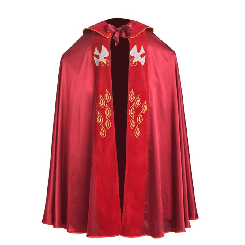 Red Green Catholic Church IHS Embroidery Holy Bishop Priest Cope Liturgical Vestment(China (Mainland))