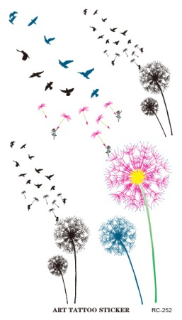 New Waterproof Tattoo Sticker Colored Dandelion Birds Flying Temporary Tattoo Foil Decal Body Art Fake Tattoo