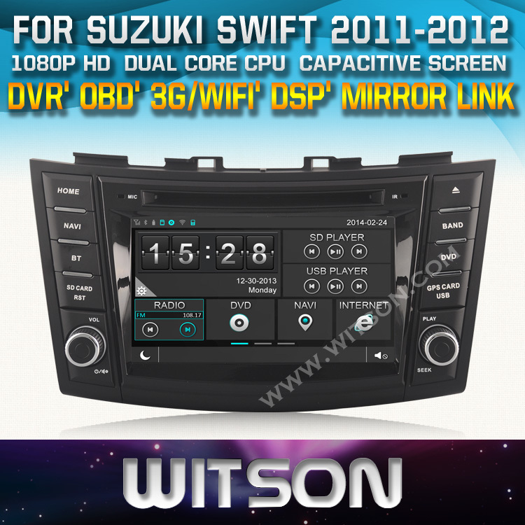 WITSON factory price for SUZUKI SWIFT 2011-2012 Car DVD GPS Navigation stereo+OBD / Mirror Link supported+DSP Audio+nice gift<br><br>Aliexpress