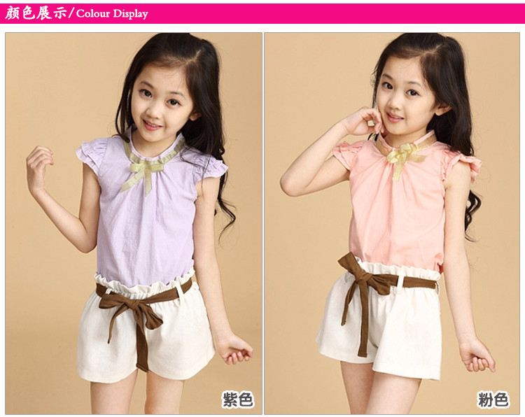 Free shipping latest design summers petal sleeve violet color cotton blouse shirt short child menina set with bow tie