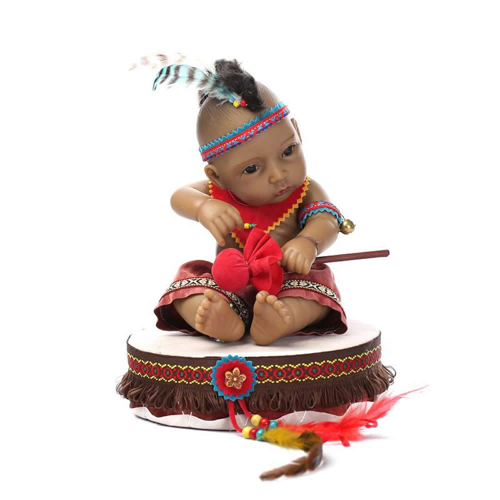 NPK Collection 10 inch Amercian Indian reborn baby doll fashion normal boy full silicone dolls kids birthday and Christmas gift(China (Mainland))